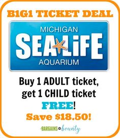 SEA LIFE Michigan Aquarium Ticket Deal :http://www.bargainstobounty.com/2015/06/sea-life-michigan-aquarium-ticket-deal/
