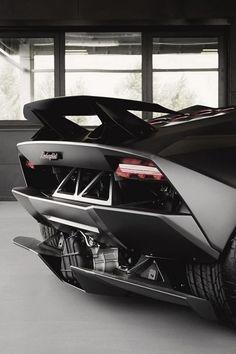 The Back of a Black Lamborghini