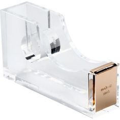 From kate spade new york, this acrylic and gold office organization line embodies modern chic. Dispenser is made of clear acrylic with accents of gold. Make it Stick is imprinted on the front to remin