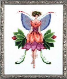 Nora Corbett Azalea (Pixie Blossom Fairy) - Cross Stitch Pattern. Model stitched on 32 Ct. Antique White Jobelan with DMC floss, Kreinik #4 Braid and Mill Hill