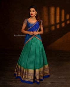 indian designer wear Check out some of the exotic ethnic wears for this season by the brand Anju Shankar Official. Indian Lehenga, Lehenga Saree Design, Half Saree Lehenga, Lehnga Dress, Saree Gown, Lehenga Designs, Half Saree Designs, Kurti Designs Party Wear, Saree Blouse Designs