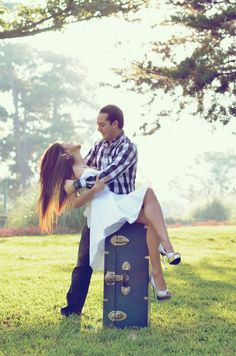 Engagement photoshoot, with luggage as props? we are long distance from each other.