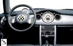 Checkered Flag 2-spoke Steering Wheel Emblem Shown. -  - MINI Steering Wheel Center Cap  - Photo #3