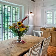 Almost al fresco: Dining in the Rustic Kitchen Tables, Farmhouse Chairs, Dining Room, Dining Table, Home Porch, Table Settings, House Design, Table Decorations, Home Decor