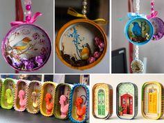 dioramas con latas de atún Tin Can Crafts, Glue Crafts, Metal Crafts, Bottle Crafts, Diy And Crafts, Crafts For Kids, Arts And Crafts, Craft Gifts, Diy Gifts