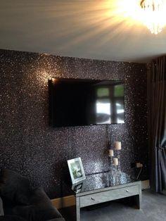Glitter wallpaper glitter wallcoverings on pinterest for Black and silver living room wallpaper