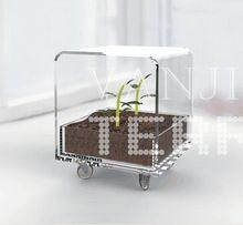 Rotolamento Acrilico Trasparente Outdoor Patio Tavolino, moderno Lucite Perspex Tavolino con Ruote, Piantare tavolo(China)