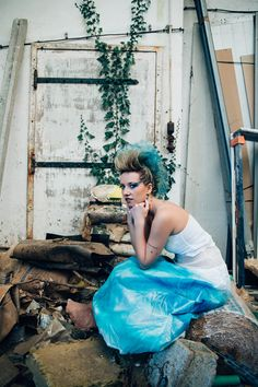 #mariage #bleu #rock #punk #wedding #blue #trashthedress #usine #factory