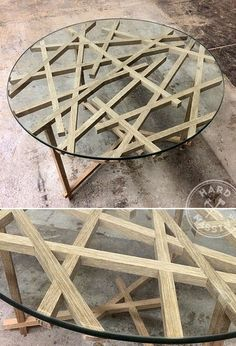 Round table made of wood and glass. Coffee table made of wood ash and tempered glass 10 mm thick. Glass can withstand up to 300 kg load. The diameter of the table - 1100 mm. Wood impregnated with oil.