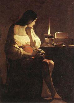 §§§ : Magdalene Meditating : Georges de La Tour : 1638