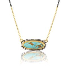 24k gold, diamond and Kingman Turqoise pendant