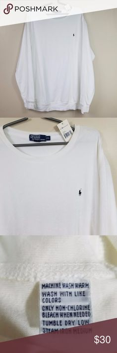 """Men's Polo Ralph Lauren Terry Long Sleeve [NWT] Cuffed sleeve & hem  Flat measurements (approx.) Shoulder to shoulder: 24"""" Chest (armpit to armpit): 30 1/2"""" Sleeve (shoulder to cuff): 28 1/2"""" Length from back of collar seam to hem: 32 1/2""""  New with tags Polo by Ralph Lauren Shirts Tees - Long Sleeve"""