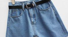 Cuffed Denim Shorts With Belt