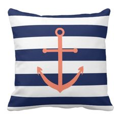 Navy Blue and Coral Anchor Pillow