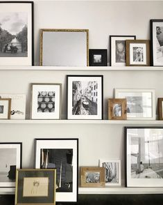 layered frames on shelves neutral Rustic Gallery Wall, Gallery Wall Bedroom, Modern Gallery Wall, Gallery Walls, Custom Floating Shelves, Stair Gallery, Frame Shelf, Build Your Own, Minimalist Home
