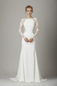 Trending || Golden Globes || Champagne + Linen LelaRose wedding dress with log sleeves and lace cut outs