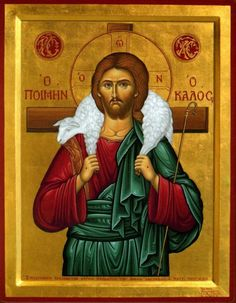 "Eastern orthodox icon of our Jesus Christ ""The Good Shepherd"" ""The thief comes only to steal and kill and destroy; I came that they may have life, and have it abundantly. Christ The Good Shepherd, Lord Is My Shepherd, Jesus Shepherd, Byzantine Art, Byzantine Icons, Religious Icons, Religious Art, Ora Et Labora, Orthodox Christianity"
