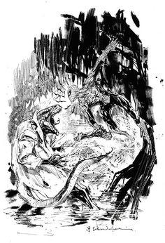 Spider-man versus the Lizard by Bill Sienkiewicz