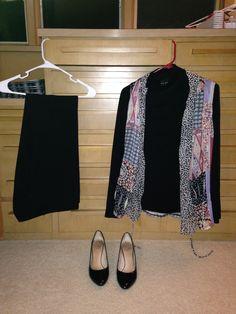 2015-11-24 Black dress pants Black cotton mock turtleneck Print sheer vest Black pumps