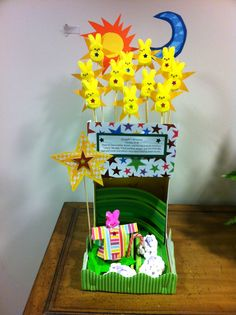 """PeepsPrize Diorama Contest 2012: Joseph and the Amazing Technicolor DreamPeeps! Using bunny Peeps for the stars and Joseph, and chick Peeps (covered in mini marshmallows) for the """"shpeeps""""."""