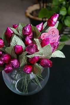Valentine's Day- chocolate kiss bouquet....much better than real flowers IMO!