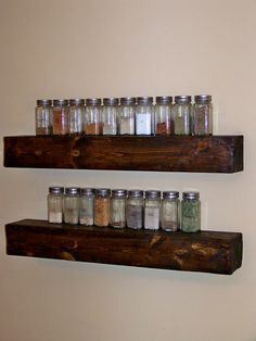 floating ledge shelf by goazcards on Etsy Reclaimed Wood Floating Shelves, Rustic Shelves, Wooden Shelves, Glass Shelves, Kitchen Shelves, Spice Shelf, Spice Rack Above Stove, Spice Jars, Picture Ledge Shelf