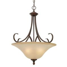 Illumine 3-Light Rubbed Bronze Pendant with Antique Marbled Glass Shade-CLI-GO6005BP3RBZ at The Home Depot