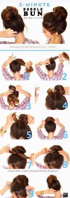 2-Minute Bubble Bun Hairstyle   Medi Villas