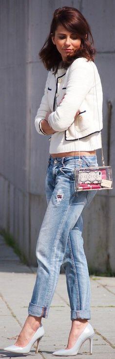 The Code Transparent Chain Handle Box Bag