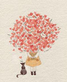 Little girl hug full of hearts illustration Art And Illustration, Belle And Boo, Whimsical Art, Cat Art, Cute Drawings, Amazing Art, Illustrators, Watercolor Paintings, Anime Art