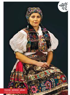 Polichno, Novohrad, Slovakia Traditional Fashion, Traditional Dresses, Vietnam Costume, Ethnic Outfits, Ethnic Clothes, Folk Clothing, Tribal Dress, Folk Dance, Folk Embroidery