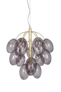 Pendant Drops A beautiful pendant made of metal in brass colour. Its 15 decorative glass shades in smoke coloured glass give it a luxurious expression. 120 long transparent cable with wire. Ceiling Lamp, Ceiling Lights, Dropped Ceiling, Brass Color, Globes, Light Decorations, Colored Glass, Pendant Lamp, Glass Shades