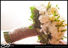 Bride Bouquet: Here comes the bride with White Roses & Twine