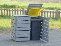 2er Mülltonnenbox Holz, Transparent Geölt Grau
