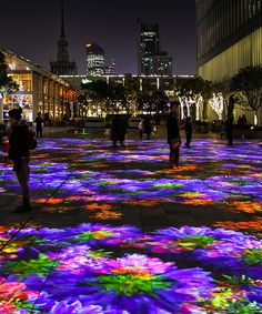 miguel chevalier's 'flower power' blooms into a digital garden of light Projection Installation, Flower Installation, Interactive Installation, Artistic Installation, Art Installations, Facade Lighting, Event Lighting, Flower Power, Garden Of Lights