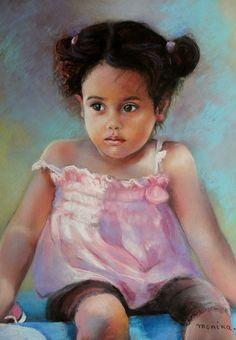 Rosita petite Dominicaine  Pastel de Monique Genain