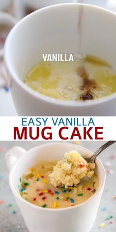 An easy microwave Vanilla Mug Cake (made without eggs) that's the fastest way to make dessert for one or two. Enjoy it plain, add nutella, or stir in a handful of chocolate chips and you're on your way to dessert bliss. # mug cake Vanilla Mug Cake Microwave Mug Recipes, Mug Cake Microwave, Fun Baking Recipes, Easy Microwave Desserts, Microwave Baking, Easy To Make Desserts, Easy Food To Make, Chocolate Mug Cakes, Chocolate Chips