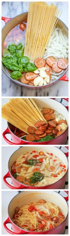 OMG So Yummy! I only eat these types of food when I workout super hard .One Pot Pasta - The easiest, most amazing pasta you will ever make. Even the pasta gets cooked right in the pot. How easy is that? Pot Pasta, Pasta Dishes, Food Dishes, Italian Recipes, New Recipes, Favorite Recipes, Healthy Recipes, I Love Food, Gastronomia