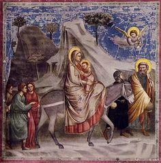 The Flight into Egypt by Giotto di Bondone (1304-06, Scrovegni Chapel, Padua).