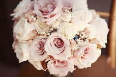 Blush and Ivory. Simple. Elegant. Bridal Bouquet. Roses. Neutrals.