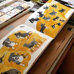 Testando muitas poses Many many Baleias childrenillustration drawing watercolor color dog happy