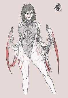 Female Character Design, Character Design Inspiration, Character Concept, Character Art, Cyberpunk Girl, Arte Cyberpunk, Cyberpunk 2020, Alita Battle Angel Manga, Robot Concept Art