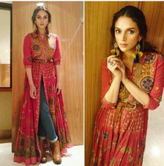 Actress wears printed flared kurta from the Festive collection. Shop the look online now Indian Fashion Trends, Indian Designer Outfits, Ethnic Fashion, Denim Fashion, Designer Dresses, Designer Kurtis, India Fashion, London Fashion, Fashion Fashion