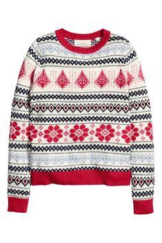 Pullover in maglia jacquard: Pullover in maglia jacquard di misto cotone con alpaca. Maniche lunghe.