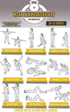 Secret Of Kim Kardashian's Fitness - Workout Diet Plan And Tips Khloe Kardashian Workout, Kardashian Quotes, Kardashian Nails, Kardashian Wedding, Kardashian Style, Gym Routine Women, Work Out Routines Gym, Workout Plan For Women, Workout Plans