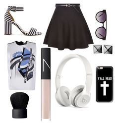 """""""Style with: J. Crew Striped Strappy High Heeled Sandals"""" by thelivesoftruefangirls ❤ liked on Polyvore featuring J.Crew, New Look, Fendi, Komono, Waterford, NARS Cosmetics, Beats by Dr. Dre and Casetify"""