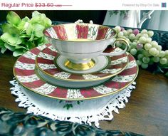 SALE iii Schumann Azberg Trio Footed Teacup by TheVintageTeacup, $26.88