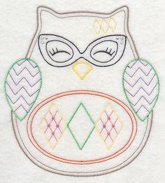 Ohli the Owl with Retro Flair (Vintage) design (K8559) from www.Emblibrary.com