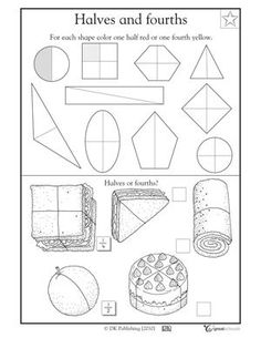 1st grade math worksheets slide show - Worksheets and Activities - Fractions: 1/2 and 1/4 | GreatSchools