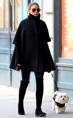 Olivia Palermo in Brooklyn wearing all black.   Black Thigh High Boots | Black Parka | Pooch | Black Leggings | Cute Outfit for Winter | Winter Clothes  <3 @benitathediva